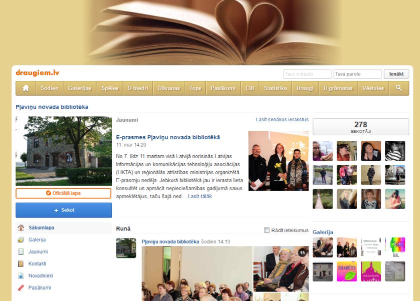 Pļaviņu novada bibliotēkas draugiem.lv lapa