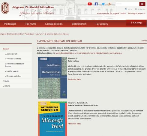 Jelgavas Zinātniskās bibliotēkas virtuālā izstāde