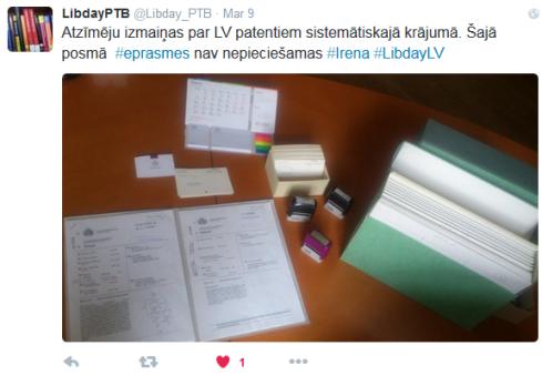 Patentu tehniskā bibliotēka šoriez izrādījusi īpaši lielu aktivitāti un nespēja mūs pārsteigt ar jaunumiem twitter
